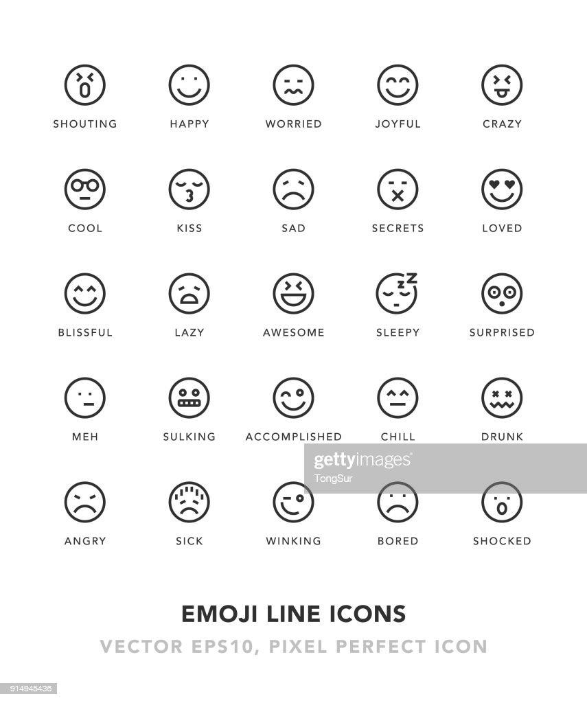 Emoji Line Icons : stock illustration