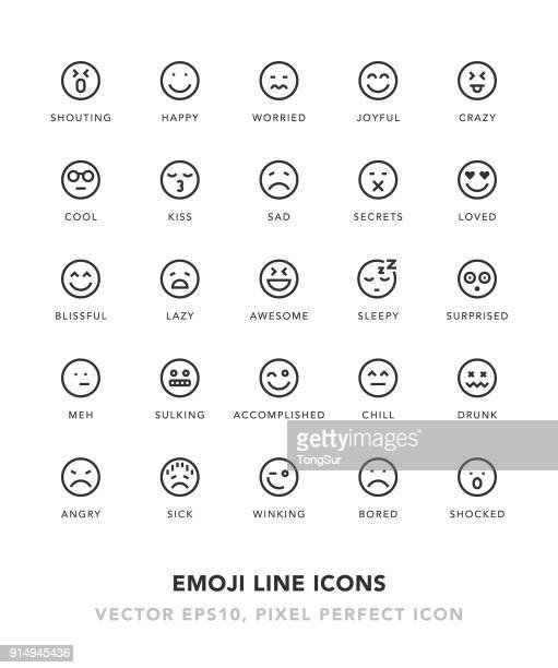 emoji line icons - emotion stock illustrations
