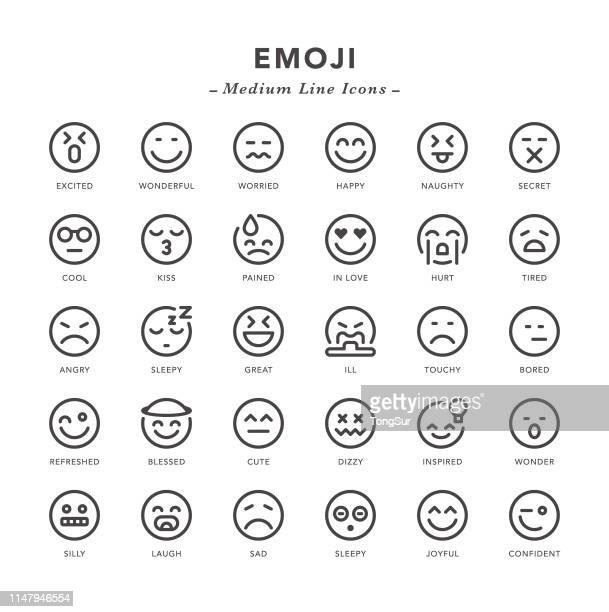 emoji - medium line icons - emotion stock illustrations