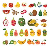 Emoji of exotic fruits vector set. Cute funny stickers