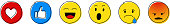 Emoji reactions - set of different emoticons. Vector.