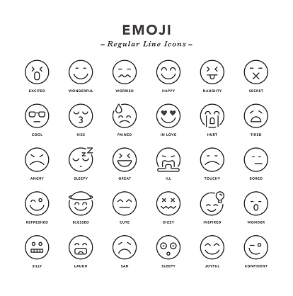 Emoji - Regular Line Icons - gettyimageskorea