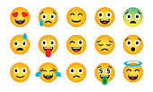 Emoji set. Cute funny emotional icons