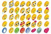 Emoji Set Emoticon Reactions Social Button Vector