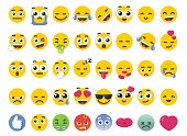 Emoji Set of Isolated on White Vector Emoticons Stickers