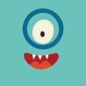 Emoji smart monster. Cute clever cyclops vector illustration.