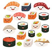 Emoji sushi characters.Cartoon japanese food. Vector set sush