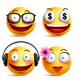 Emoji yellow emoticons or smiley faces collection with funny emotions