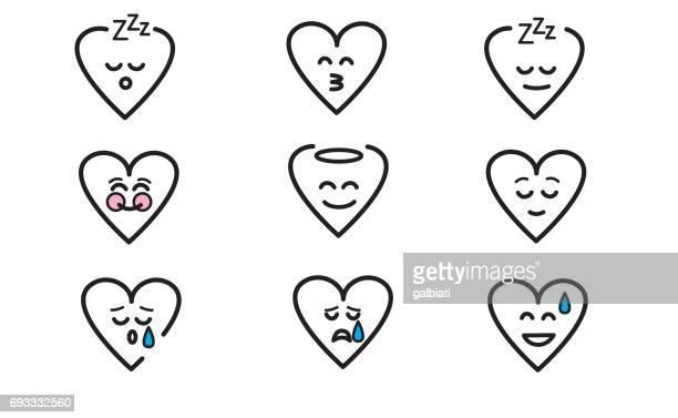 ilustraciones, imágenes clip art, dibujos animados e iconos de stock de emojis corazón 10 - eyes closed