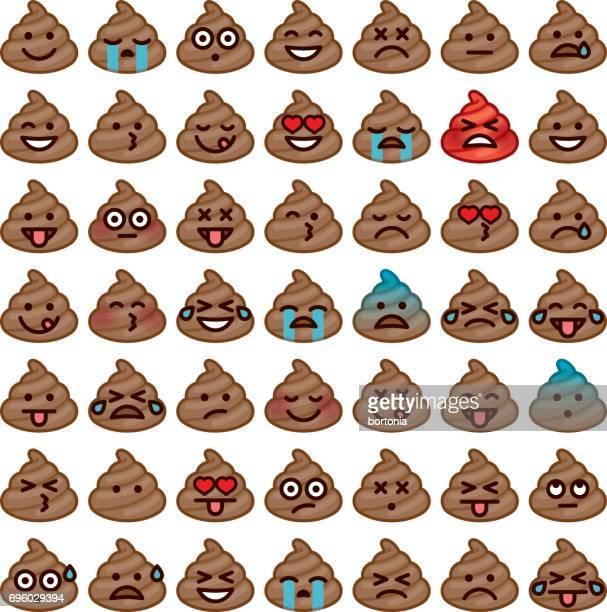 illustrazioni stock, clip art, cartoni animati e icone di tendenza di emojis icon set: poo - cacca