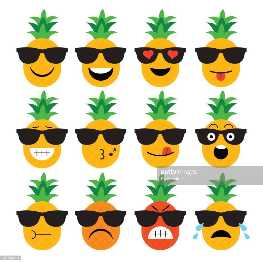 emojis. pineapple. fruit. summer. Set of emotional  face on a white background. Flat vector emoticons. Set vector smiley. Characters smiley