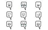 set vector illustration emojisemoticons inside speech