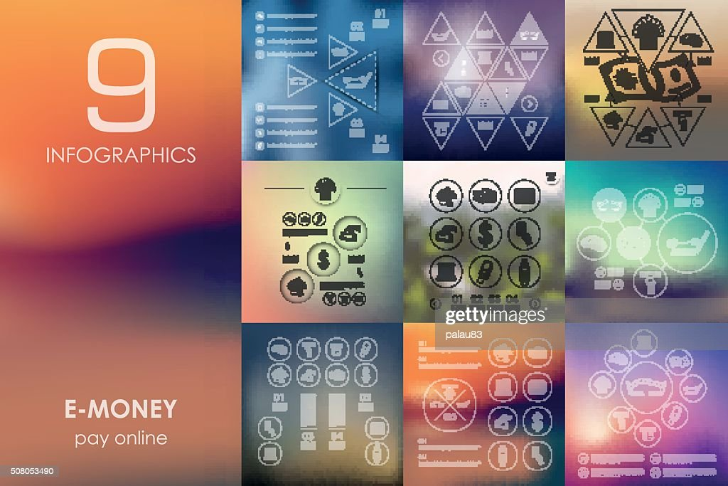 e-money infographic with unfocused background