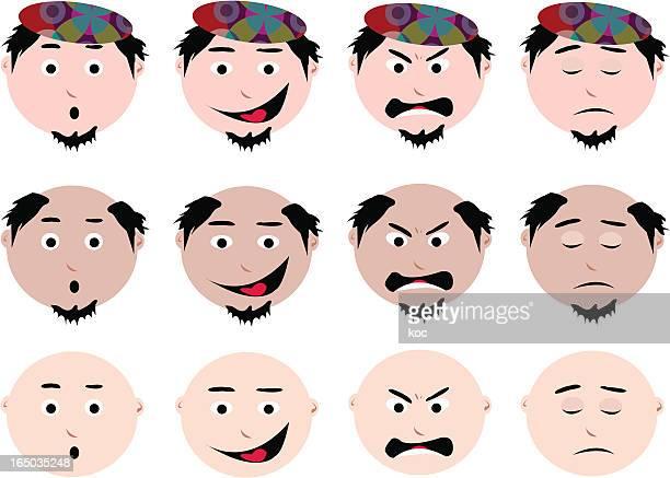 emot icons - balding stock illustrations, clip art, cartoons, & icons