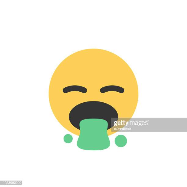 emoticon cut out design flat colors cute facial expression - diarrhea stock illustrations