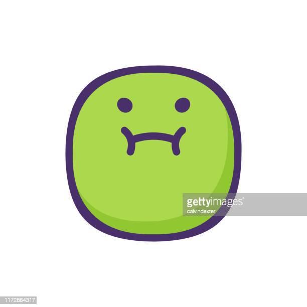 illustrations, cliparts, dessins animés et icônes de conception mignonne et joufflue d'émoticône - vomit