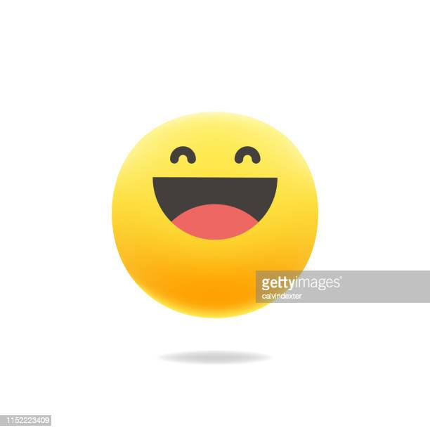 emoticon cute color realistic shadow - smiley faces stock illustrations