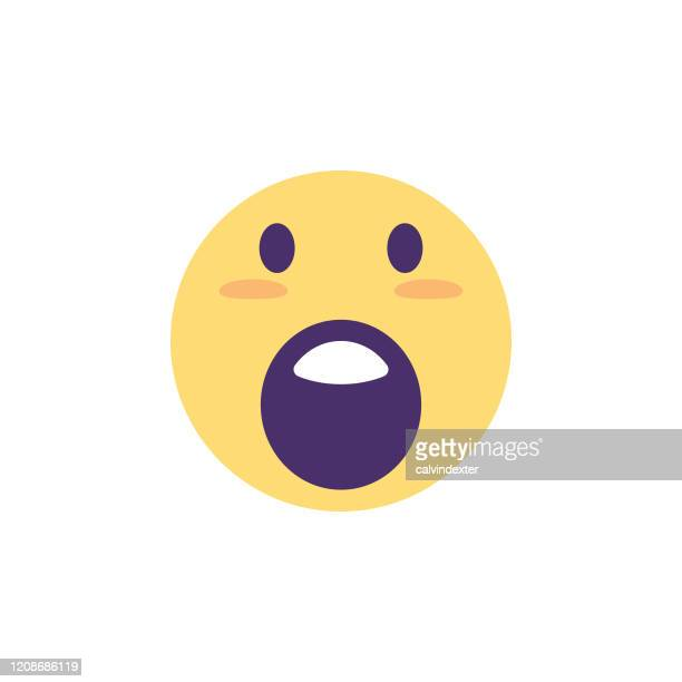 emoticon cute colors facial features icon design - glühend stock illustrations