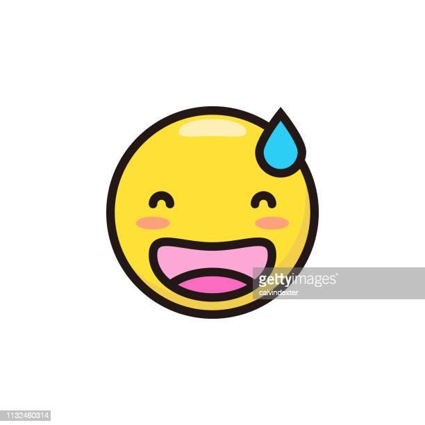 Emoticon niedliche flache Farb-und Linienkunst