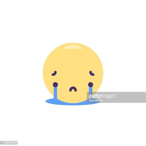 emoticon cute flat design - teardrop stock illustrations