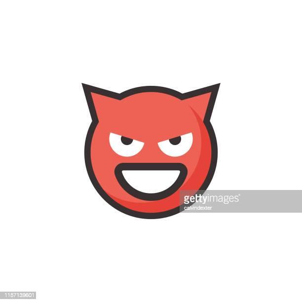 emoticon niedliche linie kunst und flache farbe - das böse stock-grafiken, -clipart, -cartoons und -symbole