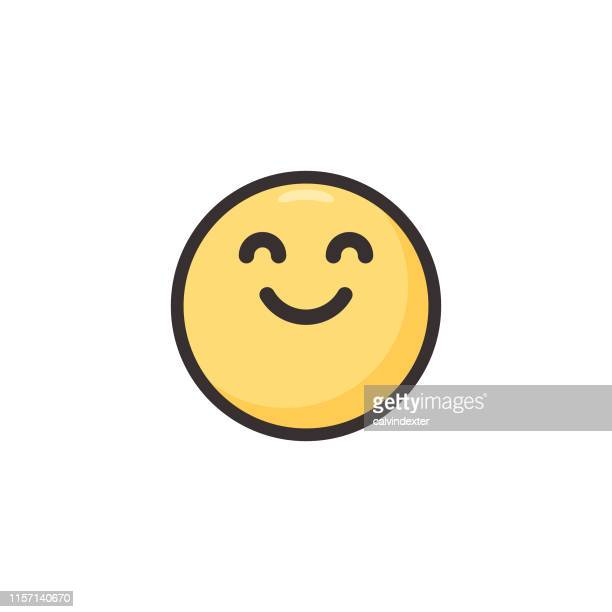 emoticon cute line art and flat color - smiley faces stock illustrations