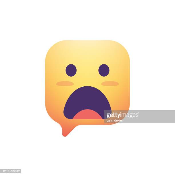 emoticon design color gradient round square thought bubble - glühend stock illustrations