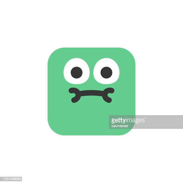 emoticon design cute cube shape - diarrhea stock illustrations