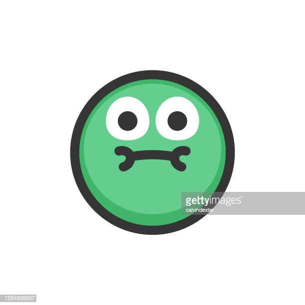 emoticon design flat colors contour line - diarrhea stock illustrations