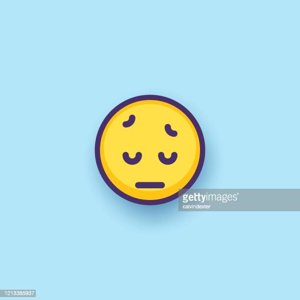 emoticon design flat line art and color background - disappointment stock illustrations