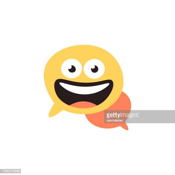 emoticon design on speech bubble - thanks quotes stock illustrations