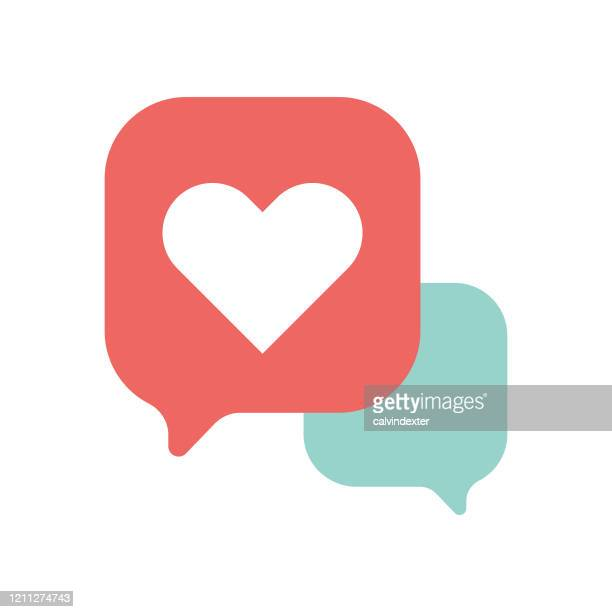 emoticon design online messaging thought bubbles - heart shape stock illustrations