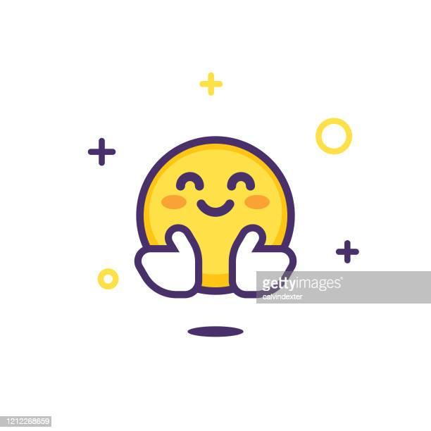 illustrazioni stock, clip art, cartoni animati e icone di tendenza di design emoticon con scintille e stelle - abbracciare una persona