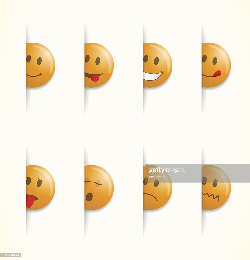 Emoticon faces with various emotions