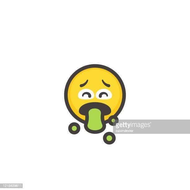 illustrations, cliparts, dessins animés et icônes de ligne de contour de conception plate d'emoticon - vomit