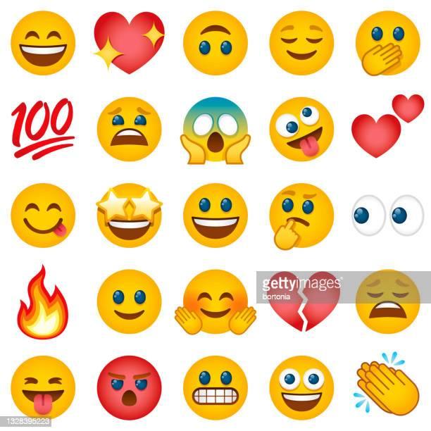 emoticon-symbol-set - emoticon stock-grafiken, -clipart, -cartoons und -symbole