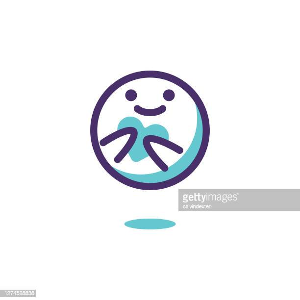 emoticon line art design blue shades - emotional support stock illustrations