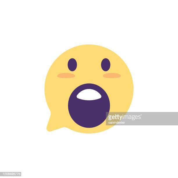 emoticon on speech tought bubble icon design - glühend stock illustrations