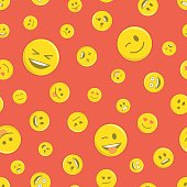 Emoticon seamless pattern on red.