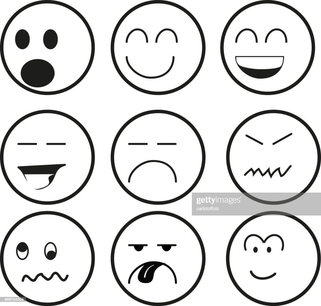 Emoticon series in black and white