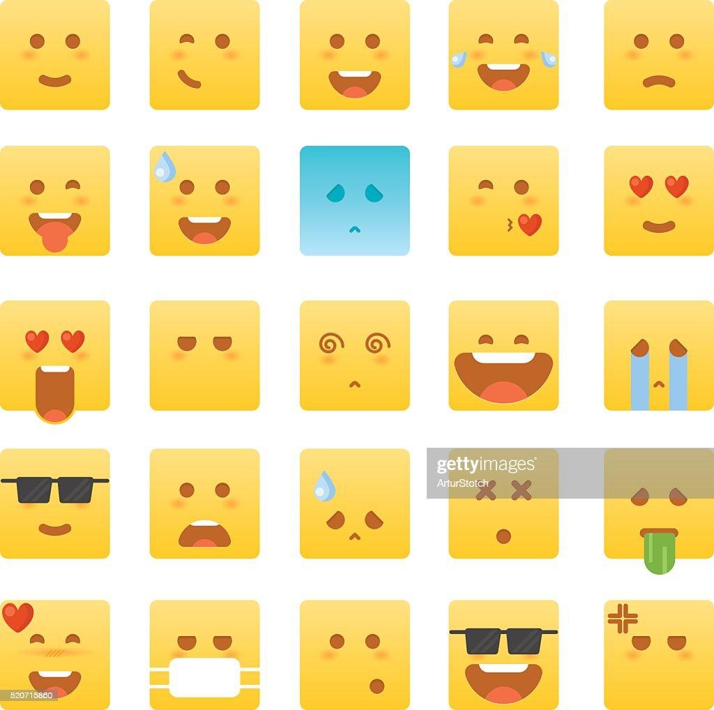 Emoticon set. Smile icons. Isolated vector illustration on white background