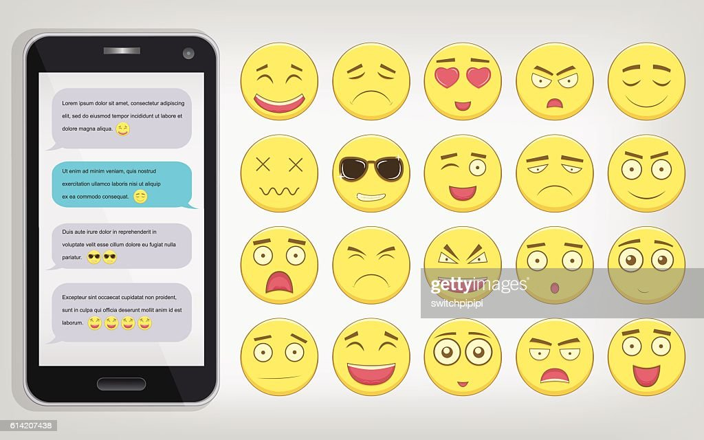 Emoticon set with Phone. Emoticon for web site, chat, sms.