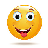 Emoticon smiling face shows tongue