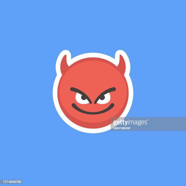 emoticon sticker blue background - devil stock illustrations