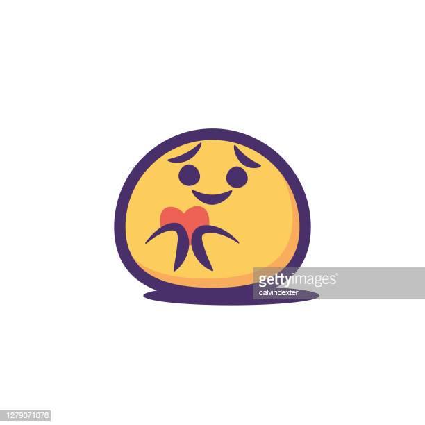 emoticon sticker design contour line - fragile sticker stock illustrations