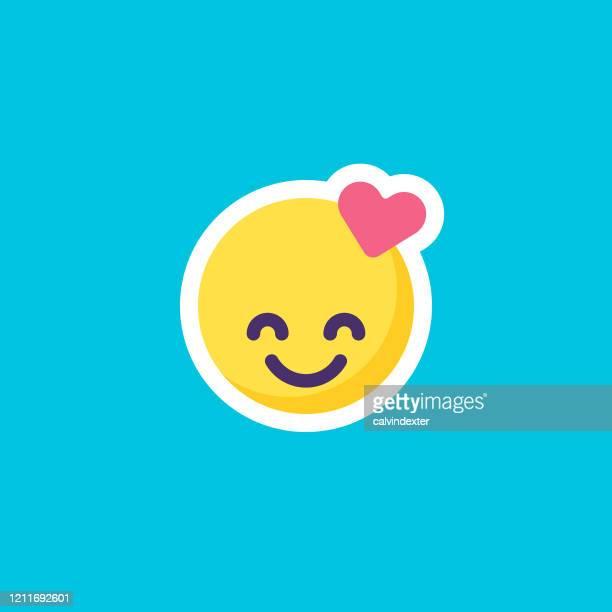 emoticon aufkleber auf blauem schwarzgeschanden flachen design - danke stock-grafiken, -clipart, -cartoons und -symbole
