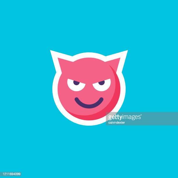 ilustraciones, imágenes clip art, dibujos animados e iconos de stock de etiqueta engomada de emoticono en diseño plano de color negro azul - cuadrado composición