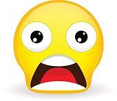 Emoticon with dropped jaw. Shock emoticon. Wow emoticon. Surprise emoji.