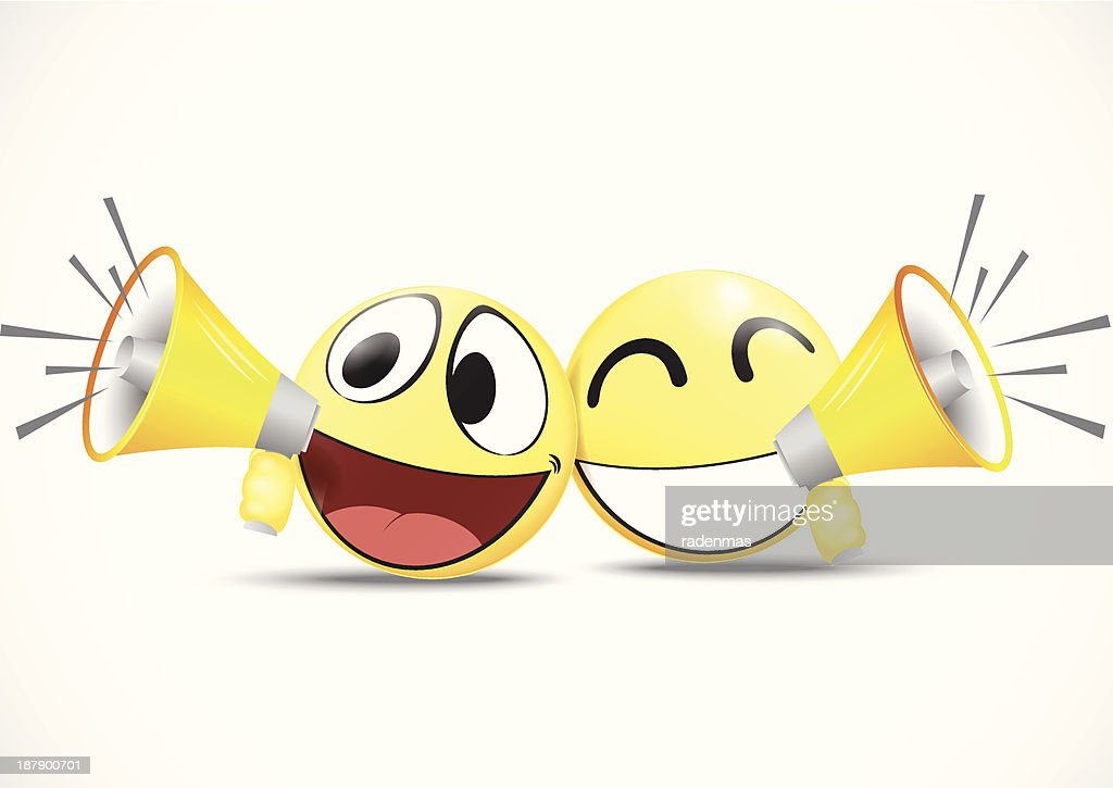 Emoticon with speaker .business commerce concept
