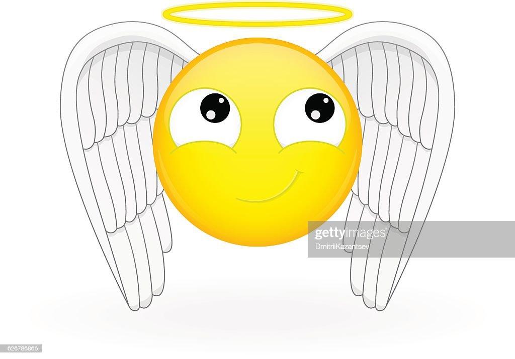 Emoticon with wings and a nimbus. Angel emoticon.